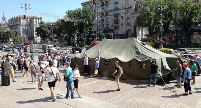 «Рекетиры вжилетках»: вКиеве проходит масштабный митинг парковщиков