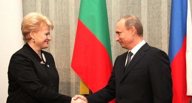 Грибаускайте: Путин предложил Литве стать наколени