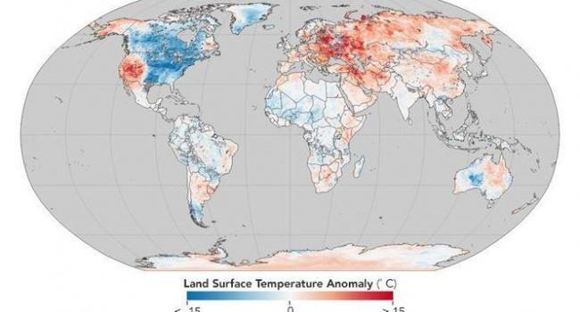 В НАСА показали карту с самыми «морозными» странами в этом году
