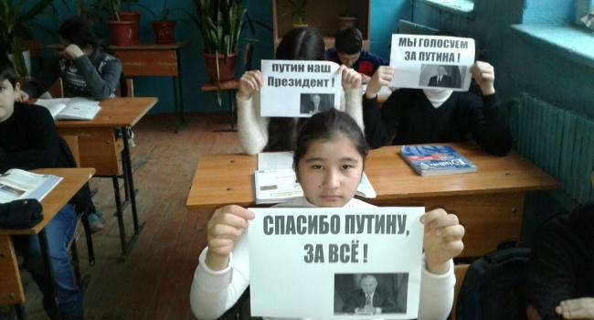 ВДагестане учительница заставила школьников устроить акцию за В. Путина