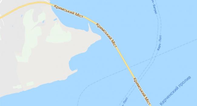 Сервис Google Maps подписал Крымский мост на украинском языке