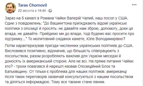 «Подождите, пока мы придем к власти»: Тимошенко и «Оппоблок» просят Вашингтон не предоставлять Украине оружие, - дипломат