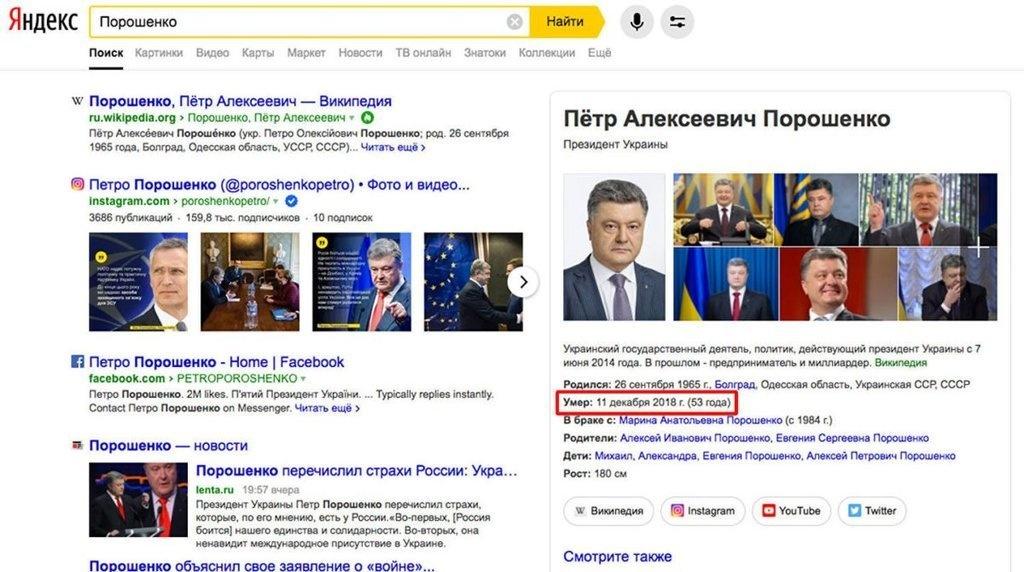В России сообщили о смерти Петра Порошенко: кончина датируется 11 декабря 2018 года
