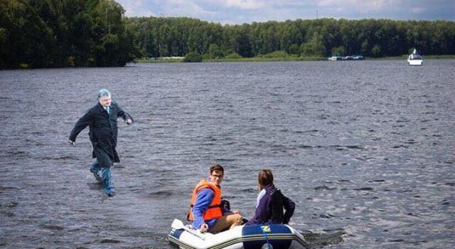 Пользователи соцсетей публикуют фотожабы на побег Порошенко с митинга