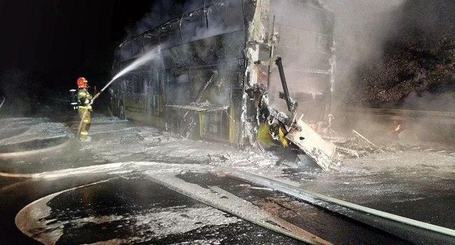 ЧП в Польше: автобус «Киев - Прага», перевозивший 70 украинцев, сгорел дотла