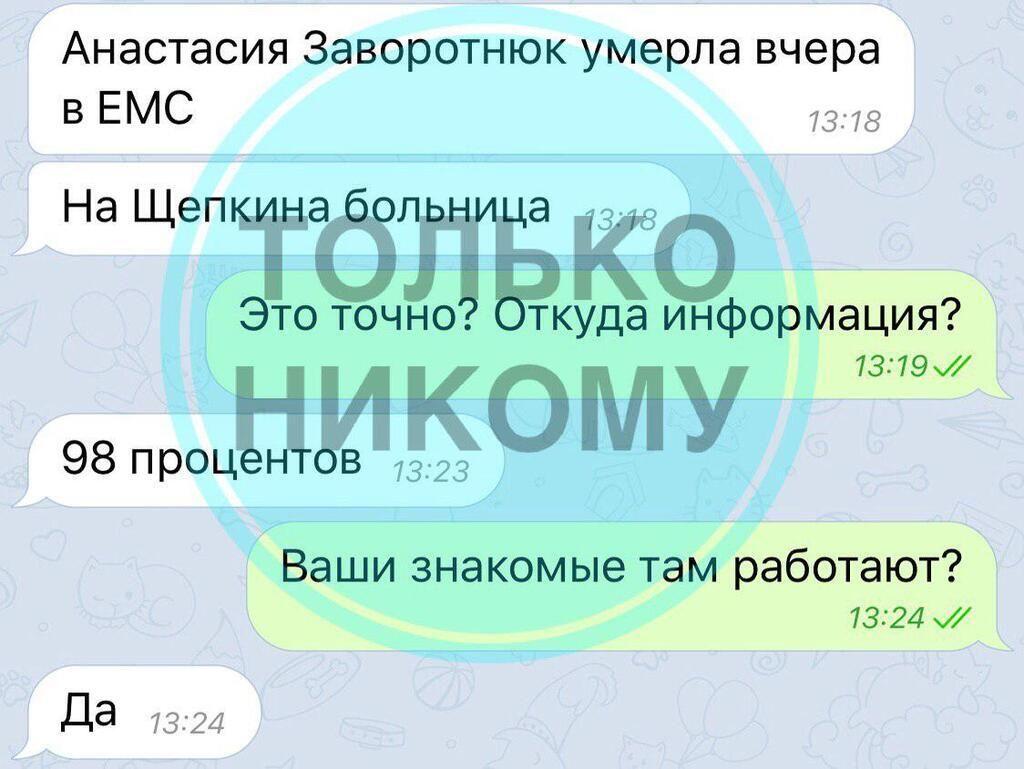 Анастасия Заворотнюк умерла, - российские СМИ