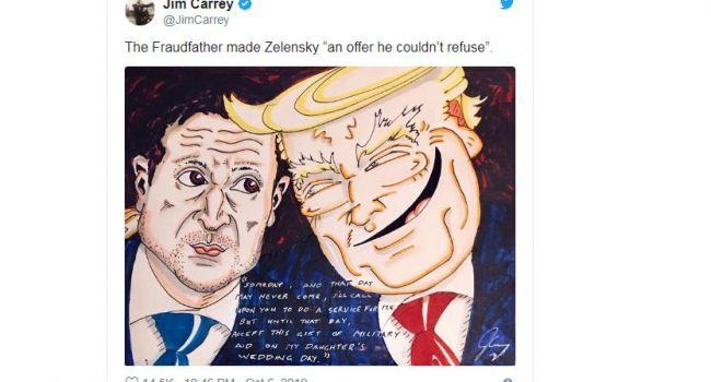 «Прими этот дар в виде военной помощи»: Джим Керри показал карикатуру на президентов США и Украины