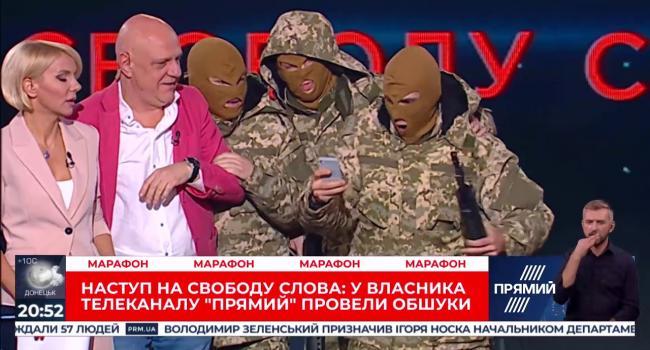 Во время телетрансляции в студию ворвались люди в масках: телеканал «Прямой» публично извинился за псевдозахват