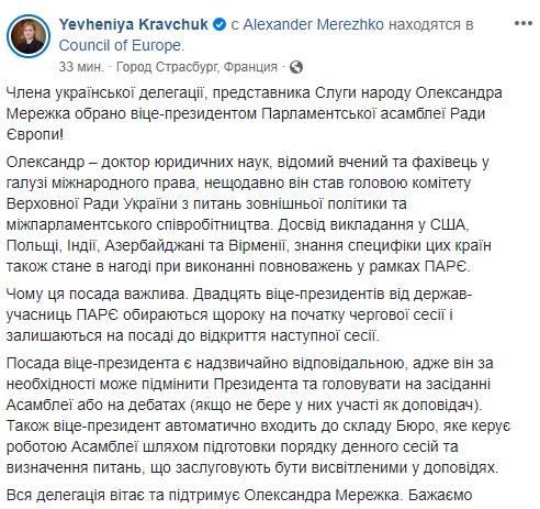 «Слуга народу» Мережко став віце-президентом ПАРЄ