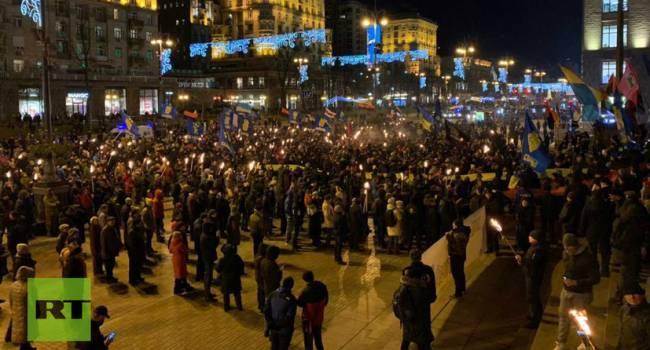 «Мы все бандеровцы! Бандере слава!»: Полиция, Нацгвардия, взрывотехники… Как проходит шествие в Киеве?