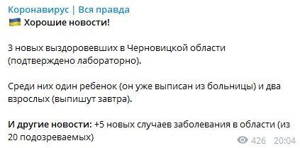 «Подтверждено лабораторно»: В Черновцах двое взрослых и ребенок выздоровели от коронавируса – источник