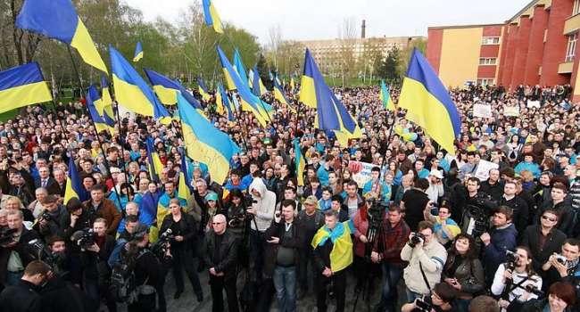 «Нам не нужен «русский мир»: В Донецке проукраинские активисты провели масштабный митинг, «похоронив» проект «Новороссия»