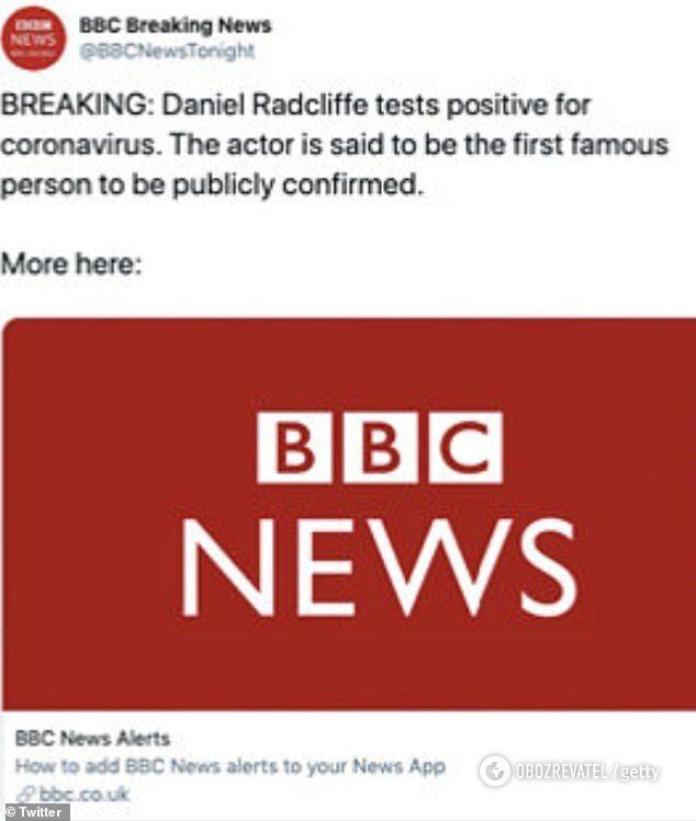 Западные СМИ сообщили, что звезда «Гарри Поттера» Дэниел Рэдклифф больной на коронавирус