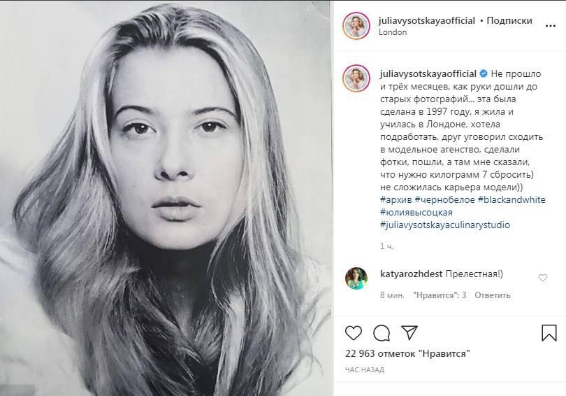 Юлия Высоцкая поделилась своим фото, сделанным в 1997 году, рассказав, почему у нее не сложилась модельная карьера