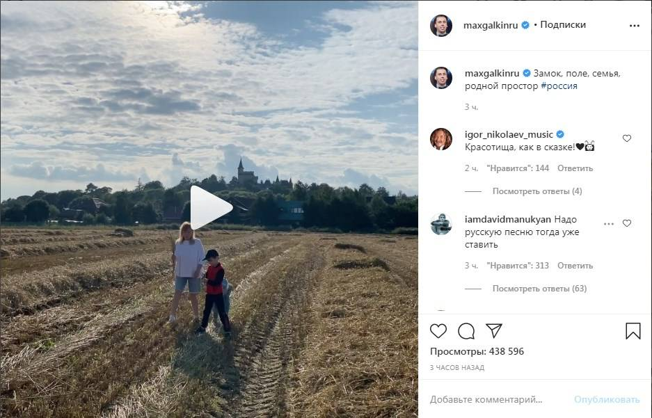 «Как в сказке»: Максим Галкин прогулялся полем с женой и детьми