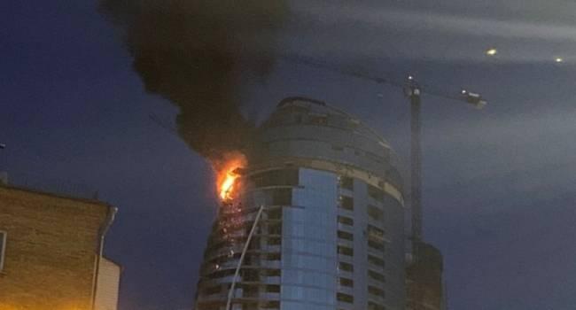 В Киеве в одной из башен Taryan Towers произошел масштабный пожар