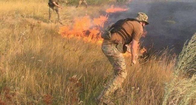 На Донбассе из-за пожаров погиб боец ВСУ. Силы ООС начали тушить огонь подручными средствами