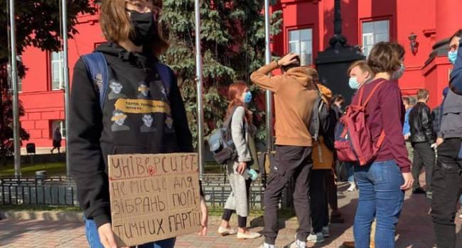 Политолог: спустя 18 месяцев после первого тура президентских выборов Зеленский получил массовую студенческую акцию протеста
