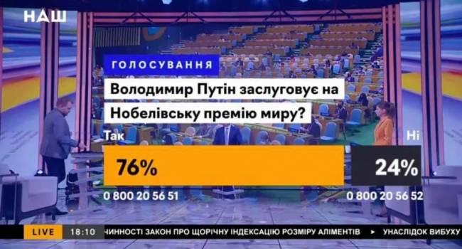 Канал «Наш» оказался в центре мегаскандала: предлагают назвать Путина главным миротворцем мира