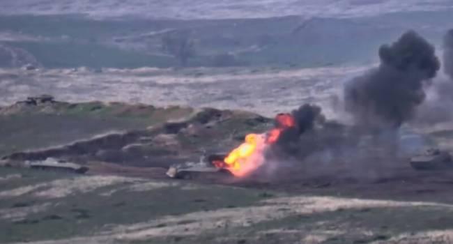 Минобороны Азербайджана опубликовало кадры масштабного уничтожения военной техники Армении