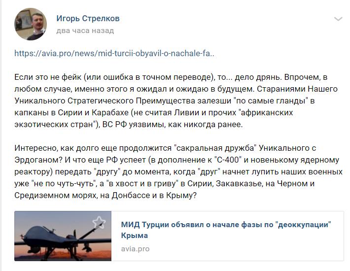 «По самые гланды... Для РФ дело дер*мо!»: Гиркин заявил о старте деоккупации Крыма Украиной при помощи Турции