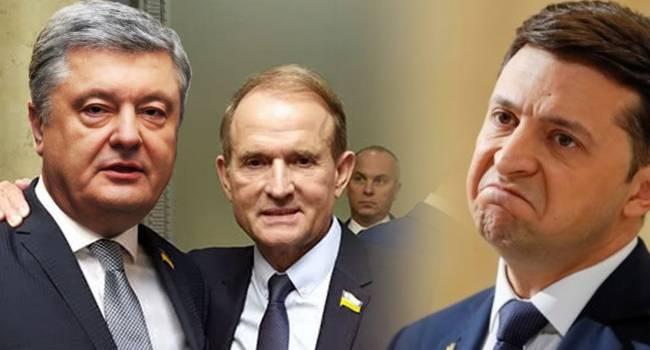 Запутавшийся в политических интригах с олигархами, Зеленский оказался зажатым с двух сторон партиями Порошенко и Медведчука - мнение