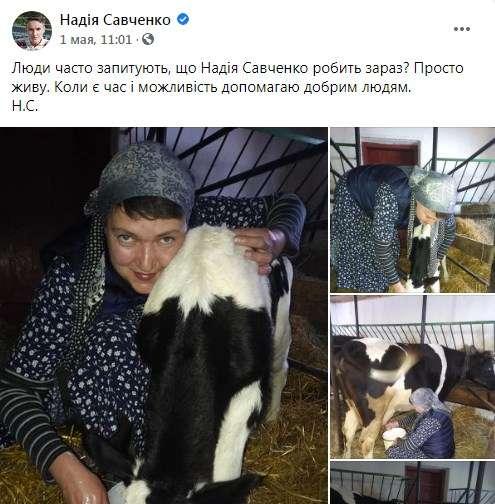 «Оставайтесь там, вам это подходит, вы в кругу единомышленников и друзей по разуму»: Савченко показала, как доит корову, поит теленка, разжигает дровами печь и выращивает рассаду