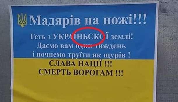 Неизвестные в Берегово расклеивали листовки провокационного характера
