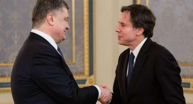 Блогер: Офис президента сегодня рвало с самого утра от встречи Порошенко с Блинкеном, ведь был расчет на другое